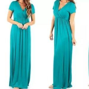 Dresses & Skirts - NEW Plus Size Maxi Dress Teal Sz 3X Ruched V neck